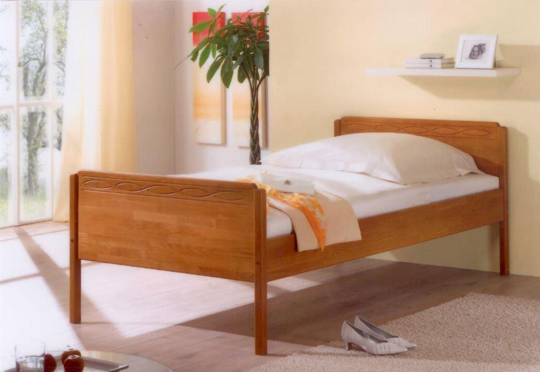 bettgestell hoch bett tina x kiefer gebeizt gelt with. Black Bedroom Furniture Sets. Home Design Ideas